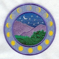Phases of the Moon  (Applique)  embroidered patch , sew or iron on your choice