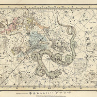 Ursa Minor, Cassiopeia, Tarandus, Cepheus, Draco, Custos Messium, Antique map of the Moon, ancient maps, constellation, galaxy, 79