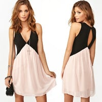 Contrast color stitching on the back hollow out chiffon vest dress