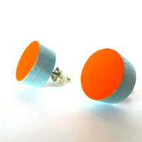Neon orange and blue earrings, color block earrings, spring colors, bright earrings, tiffany blue, orange and blue