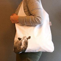 Handprinted tote Mrs Cow in white and grey by StrandRedesign