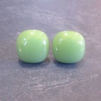 Mint Green Light Green Glass Post Earrings Fused by mysassyglass