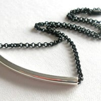 Silver Tone Tube Necklace - Dainty Modern Minimalist Necklace // Matte Black Plated Rolo Chain