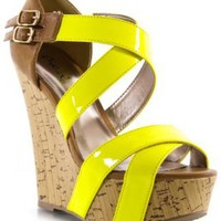 Qupid Finder-48 Neon Yellow Women Wedge Sandals, 11 M US