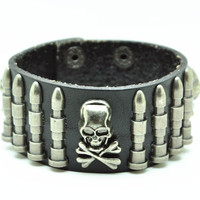 Black Real Leather Bracelet with Bullet Rivet Women Jewelry Bangle Fashion Bracelet, Men bracelet   C016
