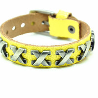 Yellow Real Leather Bracelet with Bullet Rivet Women Jewelry Bangle Fashion Bracelet, Men bracelet   C022