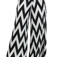 Chevron black and white womens plus size palazzo pants