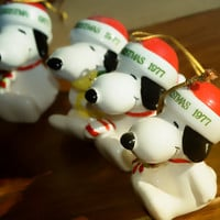 Snoopy 1977 Christmas Ornaments Porcelain Set of 4