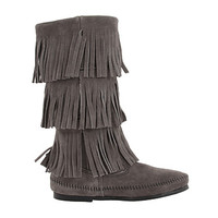 Minnetonka Calf Hi 3-Layer Fringe Boot Grey/Brown/White - Zappos.com Free Shipping BOTH Ways