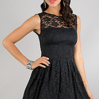Short Sleeveless Black Lace Party Dress
