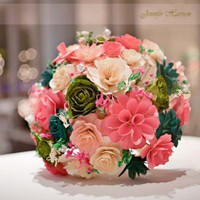 Wedding Bouquet Made of Assorted Wooden Flowers | AccentsandPetals - Wedding on ArtFire
