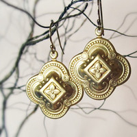 Gold quatrefoil earrings - everyday jewelry - gold filled hooks - dainty clover earrings - brass drops