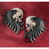 Design Toscano Bad to the Bones Winged Skull Sentinel Wall Sculpture (Set of Two) - CL5781 - All Wall Art - Wall Art &amp; Coverings - Decor