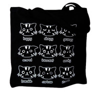 Cat Emotions Print on a Black Canvas Tote Bag