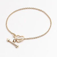 LC Lauren Conrad Gold Tone Heart & Arrow Toggle Bracelet