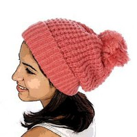 Simple Pom Pom Knit Hat (Pink)