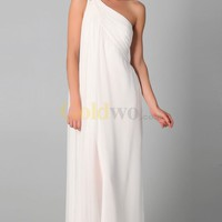 [US$179.99] Chiffon Beaded One-Shoulder Strap Sheath Floor-length Wedding Dress