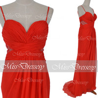 Mermaid Floor Length Chiffon Red Long Prom Dresses, Mermaid Red Evening Dress, Formal Gown, Red Evening Gown