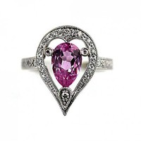 Estate 14 Kt White Gold Pink Tourmaline and Diamond Ring Circa 1980s | artdecodiamonds - Jewelry on ArtFire