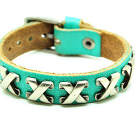Green Real Leather Bracelet with Bullet Rivet Women Jewelry Bangle Fashion Bracelet, Men bracelet   C025