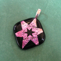 Dichroic Pink Pendant, Star Pendant, Necklace Slide, Star Jewelry - Sassy Star - 2966 -1
