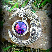 Crystal Moon Goddess Fantasy Pendant
