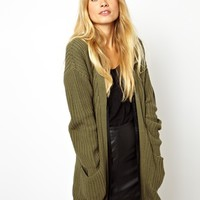 ASOS Chunky Cardigan With Zip Detail