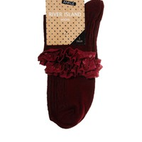 River Island Oxblood Cable Frill Ankle Socks