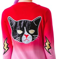 Too Fast Kitty Rocks Dare Patch Elbow Cardigan Red/Pink