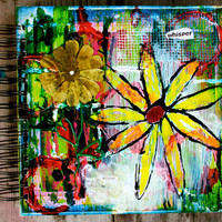 Whisper One of a Kind 8x8 Mixed Media Lined by KathleenTennant