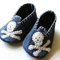 Distressed Denim Skull Mocs for Baby boys by ShesSoCraftyGoods1
