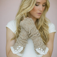 Taupe Long Fingerless Gloves Arm Warmers Stocking Stuffers in Latte