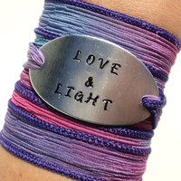 Love & Light Silk Wrap BraceletMes Yoga Jewelry sage Hand Stamped Unique Gift For Her Christmas Stocking Stuffer Under 50 Item K41
