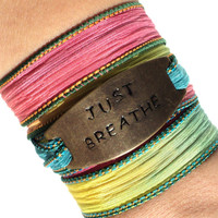 Silk Wrap Bracelet Just Breathe Yoga Jewelry Colorful Bohemian Hand Stamped Unique Gift For Her Christmas Stocking Stuffer Under 50 Item K41