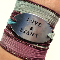 Love & Light Silk Wrap Bracelet Yoga Jewelry Spiritual Silver Hand Stamped Unique Gift For Her Christmas Stocking Stuffer Under 50 Item K37