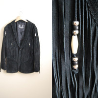 Fringe Fab - Vintage 80s Black Suede Oversized Beaded Coat