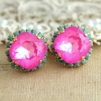 Pink turquoise Stud earrings Rhinestones Crystal big pink - 14k Gold plated post pink turquoise mint earrings real swarovski rhinestones.