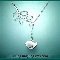 White Gold Twitter bird necklace with leaf by RingRingRing on Etsy