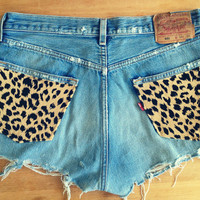 Denim cut offs Levi's with Cheetah Pockets by UnraveledClothing