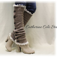 Leg warmers boot button down leg warmers legwarmers lace leg warmers womens knit leggings HEAVENLY HEATHER Mocha Catherine Cole Studio LW17