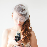 Wedzu: Polka Dot Blusher Veil Short Veil from SIBO Designs Handmade Bridal Hair pieces