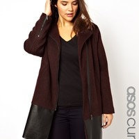 ASOS CURVE Exclusive Biker Coat With Leather Look Panel