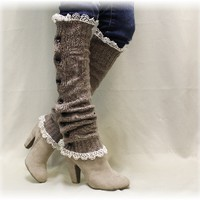 LW17 Smokey Mocha button down leg warmers