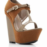 suede t-strap wedges $32.60 in BLUE TAN - Wedges | GoJane.com