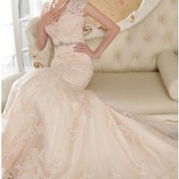 Elegant Beading Mermaid V-neck Champagne Lace Wedding Dress Key-hole Back