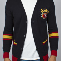 NFL San Francisco 49ers Unisex Intarsia Cardigan - Men's Tops - Long Sleeve - Junk Food Clothing
