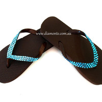 Brown Flip Flops With Turquoise Swarovski Crystals BRTQ