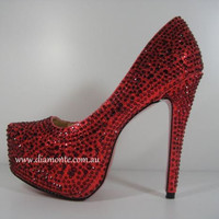 Red Swarovski Crystals High Heels