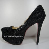 Black Swarovski Crystals High Heels