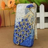 3D Crystal iPhone Case for AT&T Verizon Sprint Apple iPhone 4/4S Blue Peacock